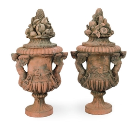 A PAIR OF TERRACOTTA GARDEN UR