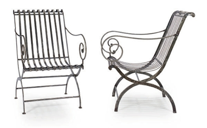 A PAIR OF STEEL GARDEN CHAIRS,