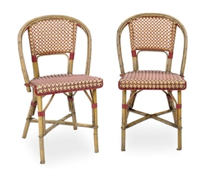 A SET OF SIX FRENCH RATTAN BIS
