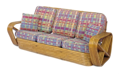A BAMBOO THREE-SEAT SOFA,
