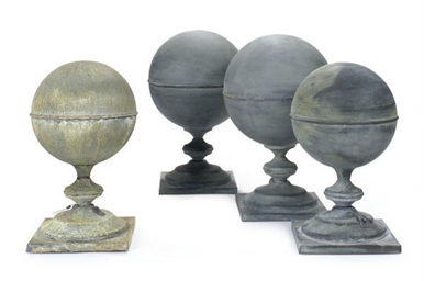 FOUR ZINC SPHERE-FORM GARDEN F