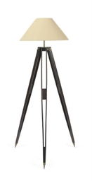 AN OAK TRIPOD FLOOR LAMP,
