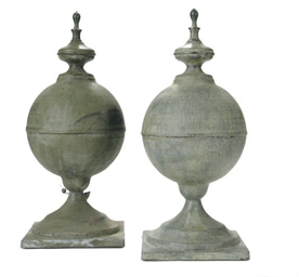 A PAIR OF ZINC SPHERE-FORM GAR