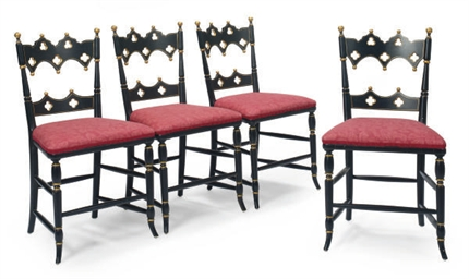 A SET OF FOUR EBONIZED AND PAR