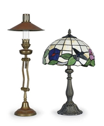 TWO METAL DESK LAMPS,