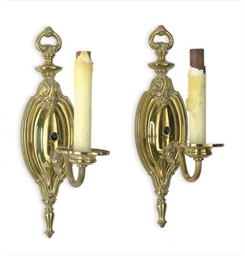 A PAIR OF BRASS SINGLE WALL-LI