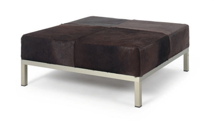 AN ALUMINUM AND PONYSKIN BENCH