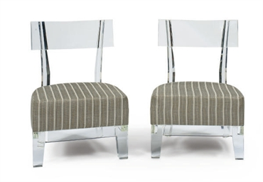 A PAIR OF LUCITE SIDE CHAIRS,