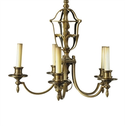 A BRASS FIVE-LIGHT CHANDELIER,