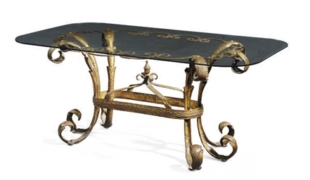 A FRENCH GILT-IRON AND GLASS C