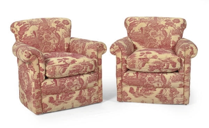 A PAIR OF RED QUILTED TOILE-UP