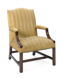 AN ENGLISH MAHOGANY ARMCHAIR,