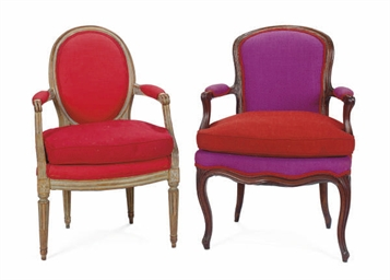 TWO FRENCH UPHOLSTERED FAUTEUI