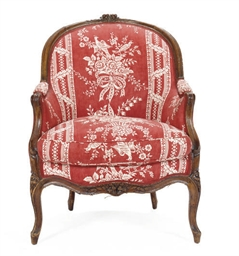 A LOUIS XV STAINED BEECH BERGE