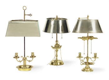THREE FRENCH BRASS TABLE LAMPS