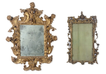 TWO GILTWOOD WALL MIRRORS,