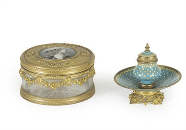 TWO GILT-METAL AND ENAMELED TA