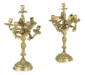 A PAIR OF FRENCH ORMOLU SEVEN-