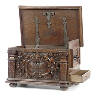 German Stained Fruitwood Chestlate 17th Century