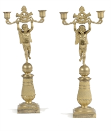 A PAIR OF LOUIS XVIII ORMOLU T