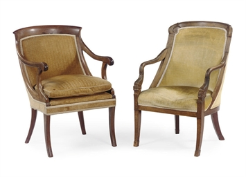 TWO DUTCH MAHOGANY CHAISES EN