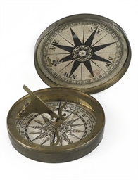 AN ENGLISH BRASS COMPASS DIAL