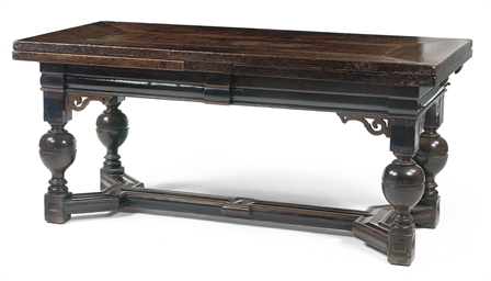 A DUTCH OAK AND EBONIZED DRAW-