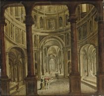 A church interior with elegant figures