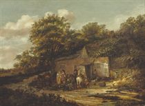 A wooded landscape with travellers resting by an inn