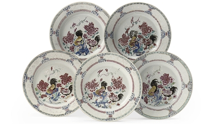 A set of five Chinese famille