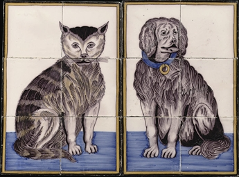A pair of Dutch polychrome cat