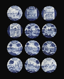 A set of twelve Dutch Delft 'c