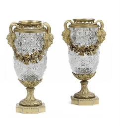 A PAIR OF FRENCH ORMOLU CUT-GL