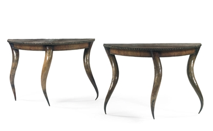 A PAIR OF HORN CONSOLE TABLES