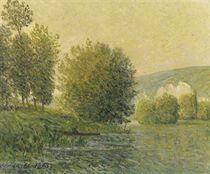 Soleil d'or, soir aux Andelys, Eure