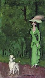 Elégante en vert, à l'aigrette