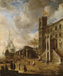Palais italien près d'un port