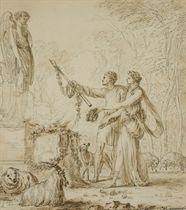 Couple de bergers déposant des offrandes devant un autel
