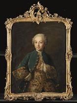 Portrait de jeune homme à mi-corps en redingote de velours bleu