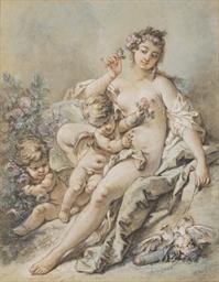 Vénus offrant des roses à deux