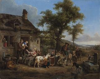 Heureuse famille dans une ferm
