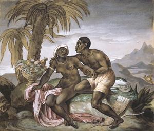 Couple de noirs dans un paysag