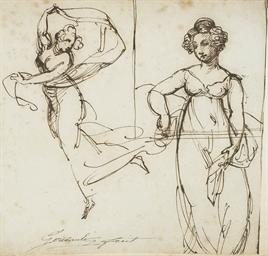Femme dansant avec un voile, r