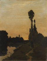 Promeneurs du soir le long d'une rivière paisible
