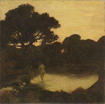 Baigneuse à l'étang au crépuscule