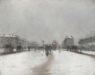 Une rue de Paris enneigée
