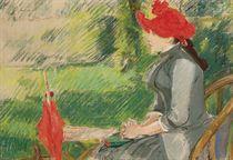 La lecture au jardin (Femme au chapeau rouge)