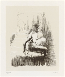 Seated Girl on Bed from 'Nudes