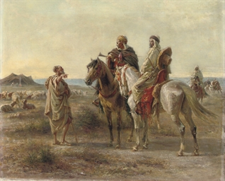 Arab horsemen before a beduin