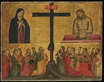The Cross flanked by the Virgin and Christ in the Tomb, with Saints John the Baptist, Peter, Matthew, Luke, John the Evangelist, Bartholomew, Lawrence and seven other saints, and the Instruments of the Passion